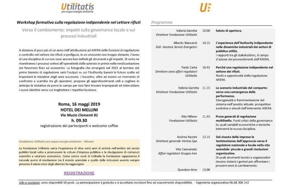 Workshop formativo sulla regolazione indipendente nel settore rifiuti